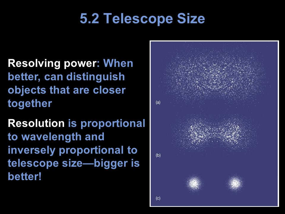 Resolving power: When better, can distinguish objects that are closer together Resolution is proportional to wavelength and inversely proportional to telescope size—bigger is better.