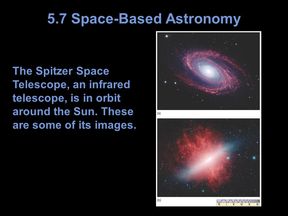 The Spitzer Space Telescope, an infrared telescope, is in orbit around the Sun.