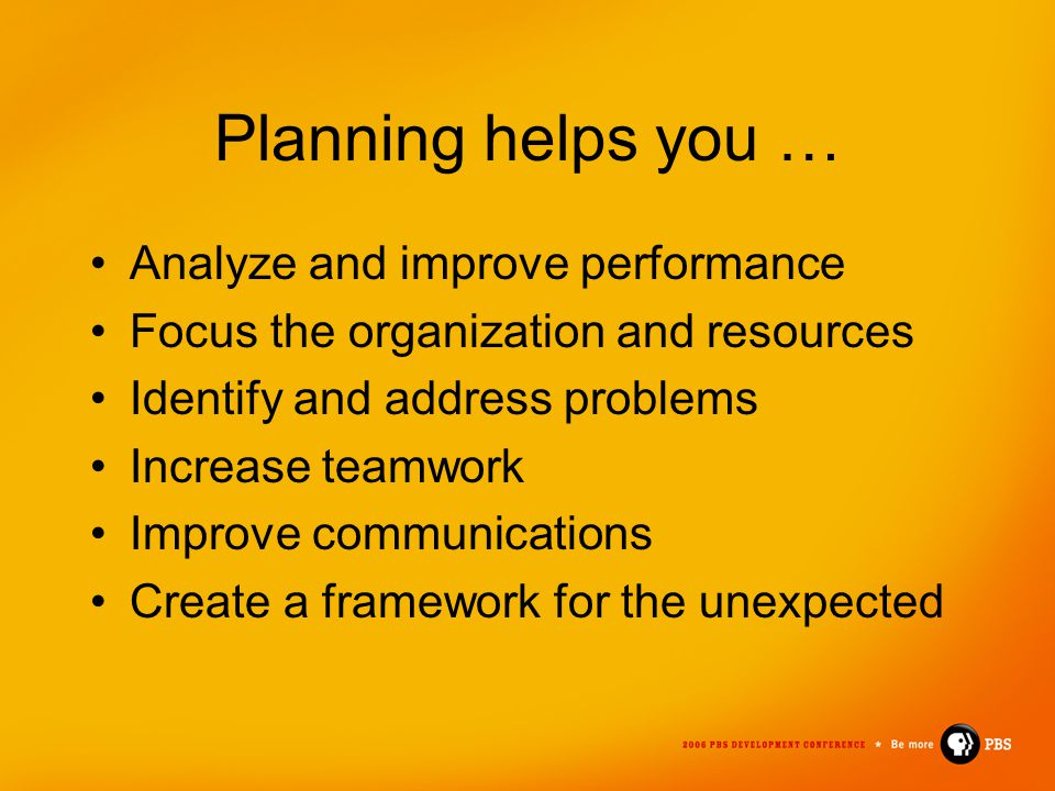 Planning helps you … Analyze and improve performance Focus the organization and resources Identify and address problems Increase teamwork Improve comm
