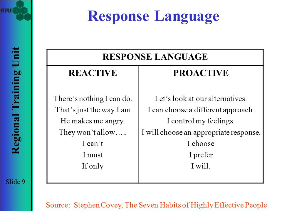 Regional Training Unit Slide 9 Response Language RESPONSE LANGUAGE REACTIVE There's nothing I can do. That's just the way I am He makes me angry. They