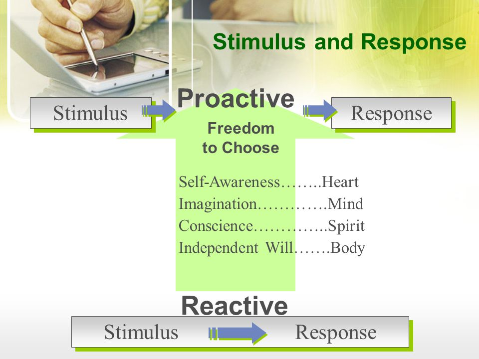 Freedom to Choose Self-Awareness……..Heart Imagination………….Mind Conscience…………..Spirit Independent Will…….Body Proactive Stimulus Response Reactive StimulusResponse Stimulus and Response