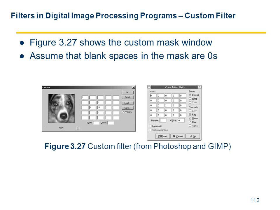 112 Filters in Digital Image Processing Programs – Custom Filter Figure 3.27 shows the custom mask window Assume that blank spaces in the mask are 0s