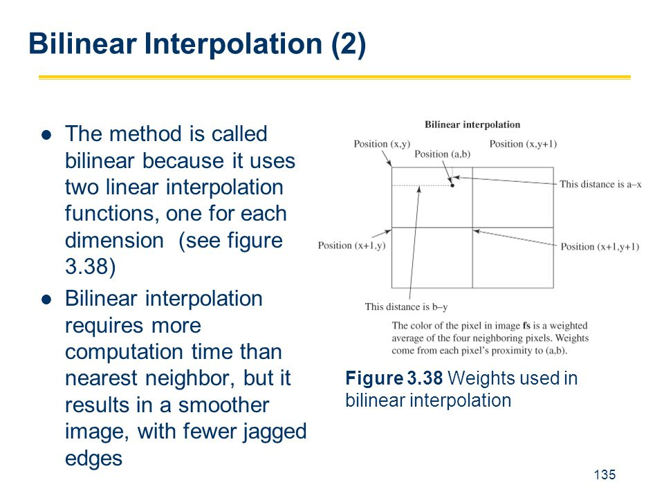 135 The method is called bilinear because it uses two linear interpolation functions, one for each dimension (see figure 3.38) Bilinear interpolation
