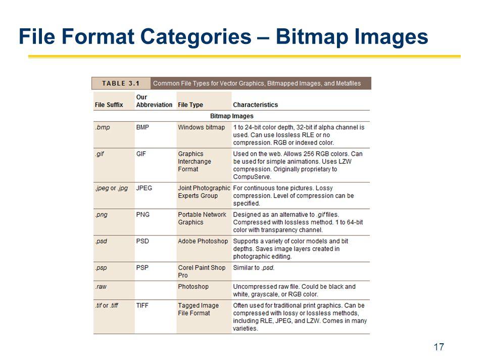 17 File Format Categories – Bitmap Images