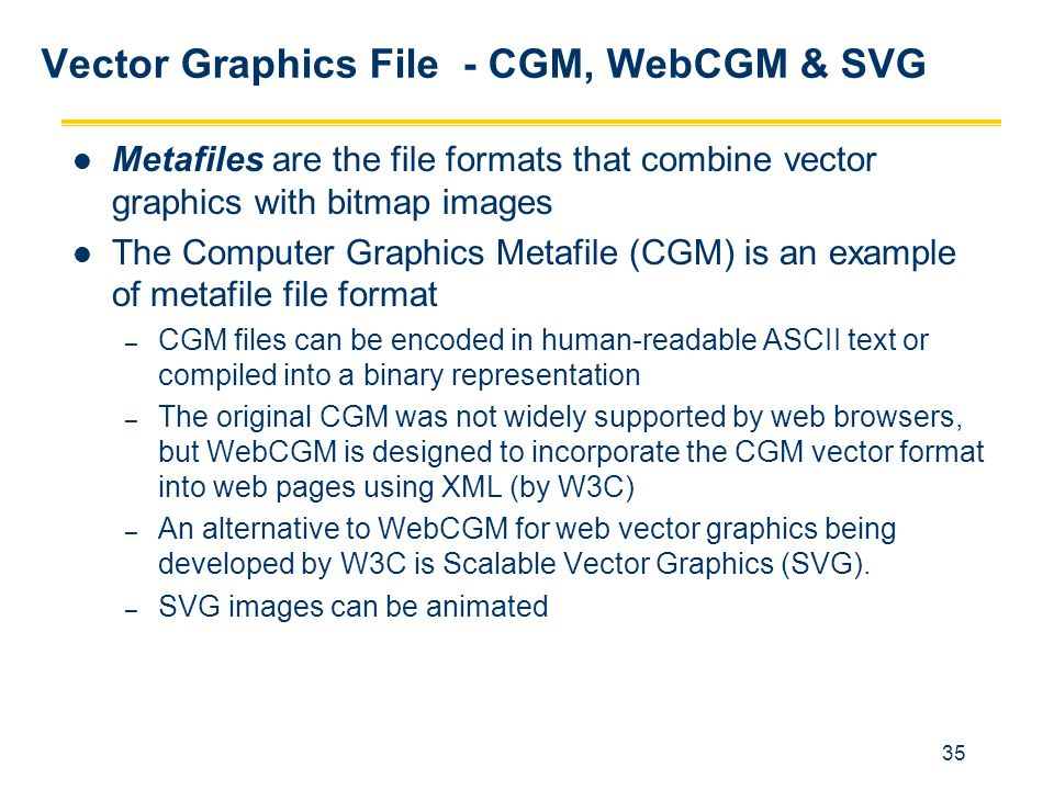 35 Vector Graphics File - CGM, WebCGM & SVG Metafiles are the file formats that combine vector graphics with bitmap images The Computer Graphics Metaf