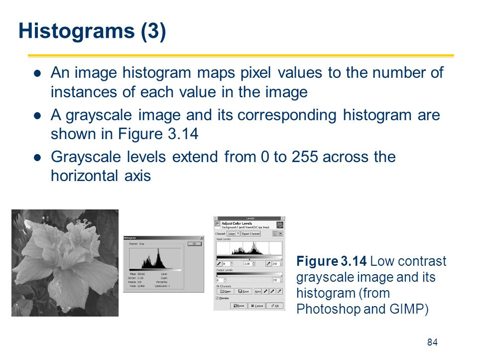 84 Histograms (3) An image histogram maps pixel values to the number of instances of each value in the image A grayscale image and its corresponding h