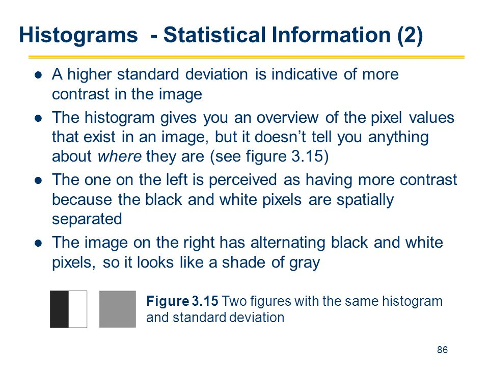 86 Histograms - Statistical Information (2) A higher standard deviation is indicative of more contrast in the image The histogram gives you an overvie