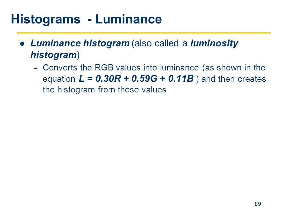 89 Histograms - Luminance Luminance histogram (also called a luminosity histogram) – Converts the RGB values into luminance (as shown in the equation