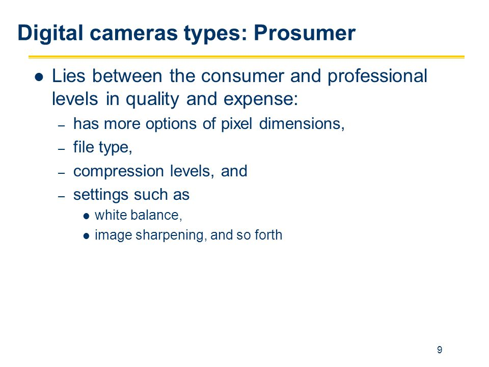 9 Lies between the consumer and professional levels in quality and expense: – has more options of pixel dimensions, – file type, – compression levels,