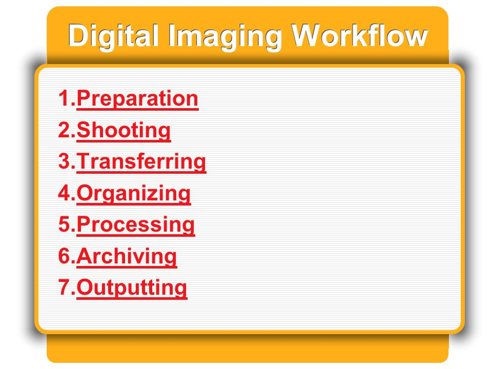 Archiving Organize Choose medium Make multiple backups Delete all unnecessary copies of image Back