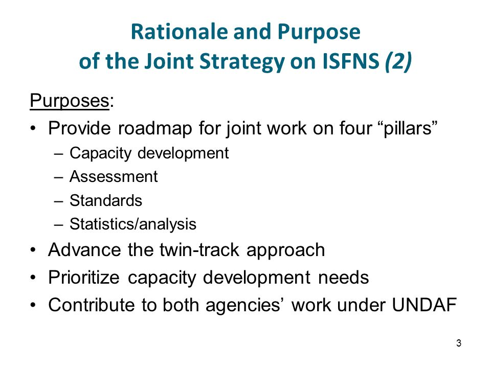 Rationale and Purpose of the Joint Strategy on ISFNS (2) Purposes: Provide roadmap for joint work on four pillars –Capacity development –Assessment –Standards –Statistics/analysis Advance the twin-track approach Prioritize capacity development needs Contribute to both agencies' work under UNDAF 3
