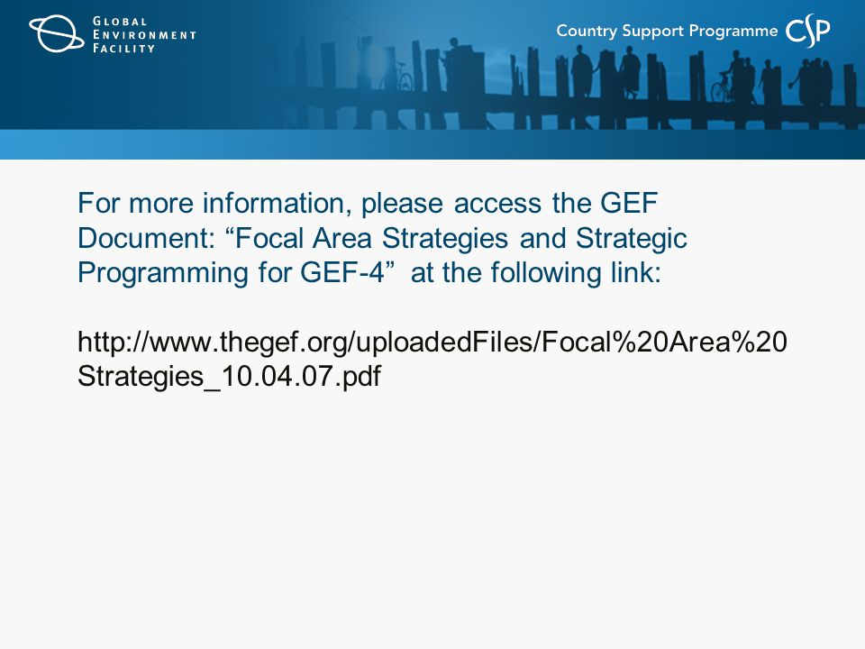For more information, please access the GEF Document: Focal Area Strategies and Strategic Programming for GEF-4 at the following link:   Strategies_ pdf