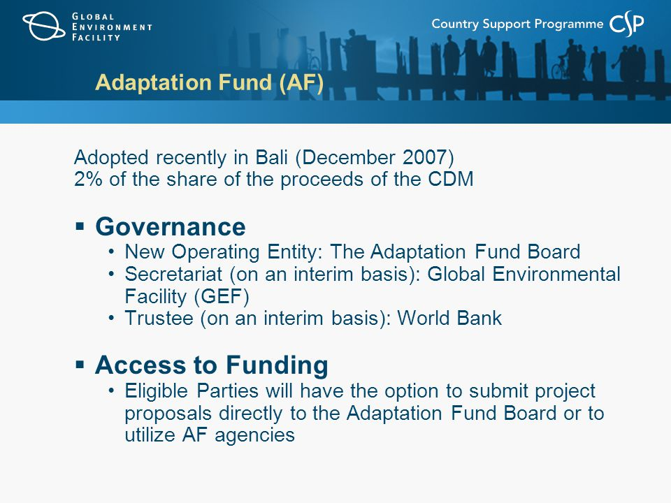 Adaptation Fund (AF) Adopted recently in Bali (December 2007) 2% of the share of the proceeds of the CDM  Governance New Operating Entity: The Adaptation Fund Board Secretariat (on an interim basis): Global Environmental Facility (GEF) Trustee (on an interim basis): World Bank  Access to Funding Eligible Parties will have the option to submit project proposals directly to the Adaptation Fund Board or to utilize AF agencies