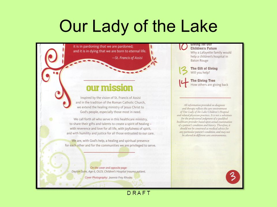 Our Lady of the Lake D R A F T