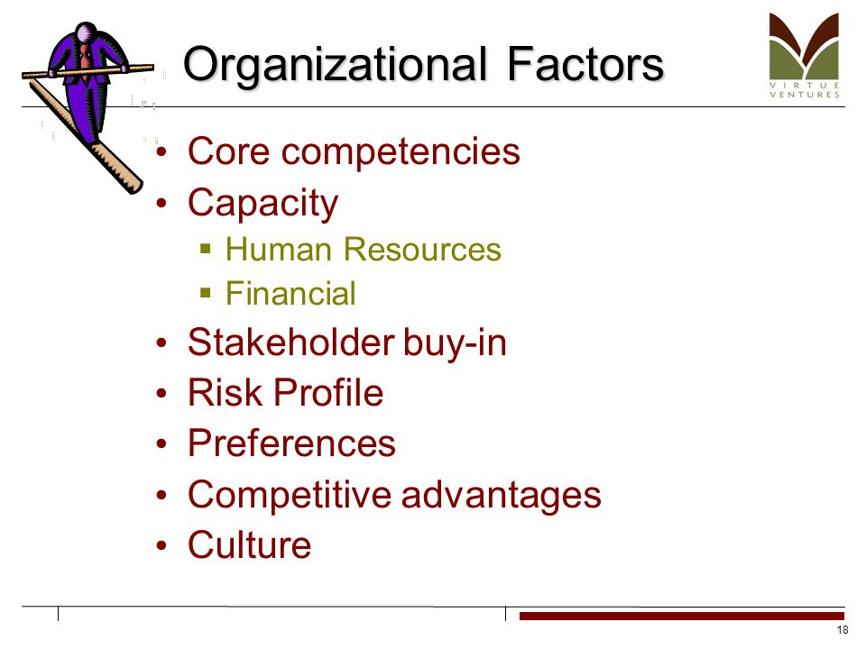 18 Organizational Factors Core competencies Capacity  Human Resources  Financial Stakeholder buy-in Risk Profile Preferences Competitive advantages Culture
