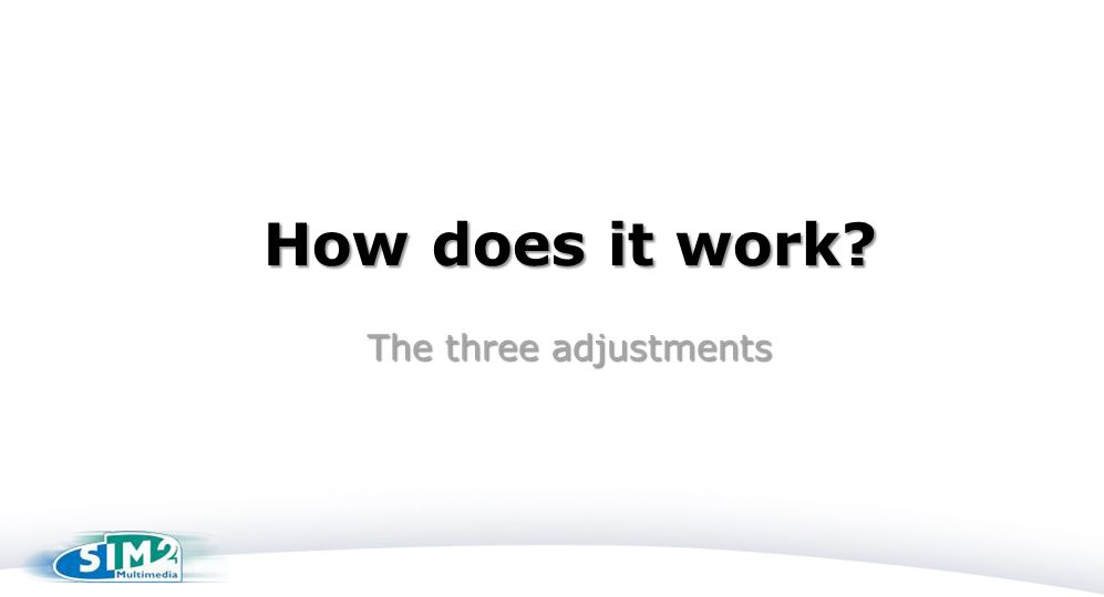How does it work? The three adjustments