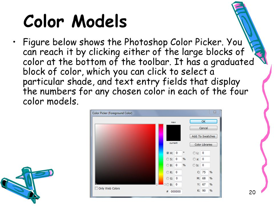 20 Color Models Figure below shows the Photoshop Color Picker.