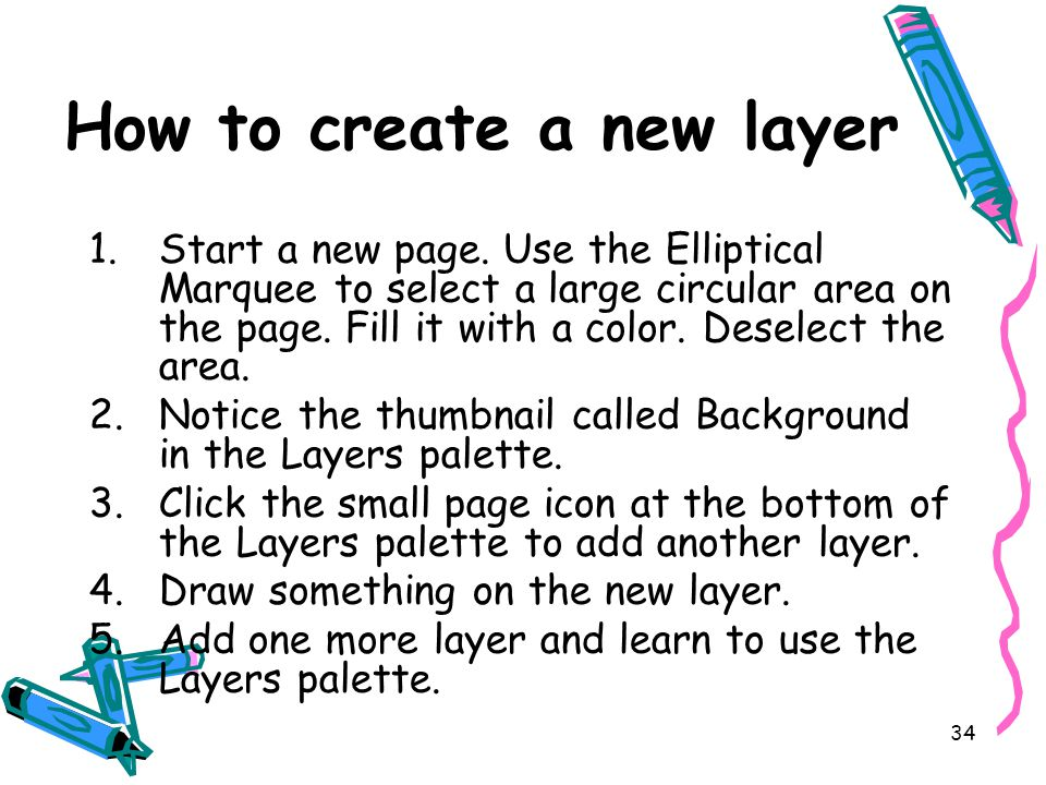 34 How to create a new layer 1.Start a new page.
