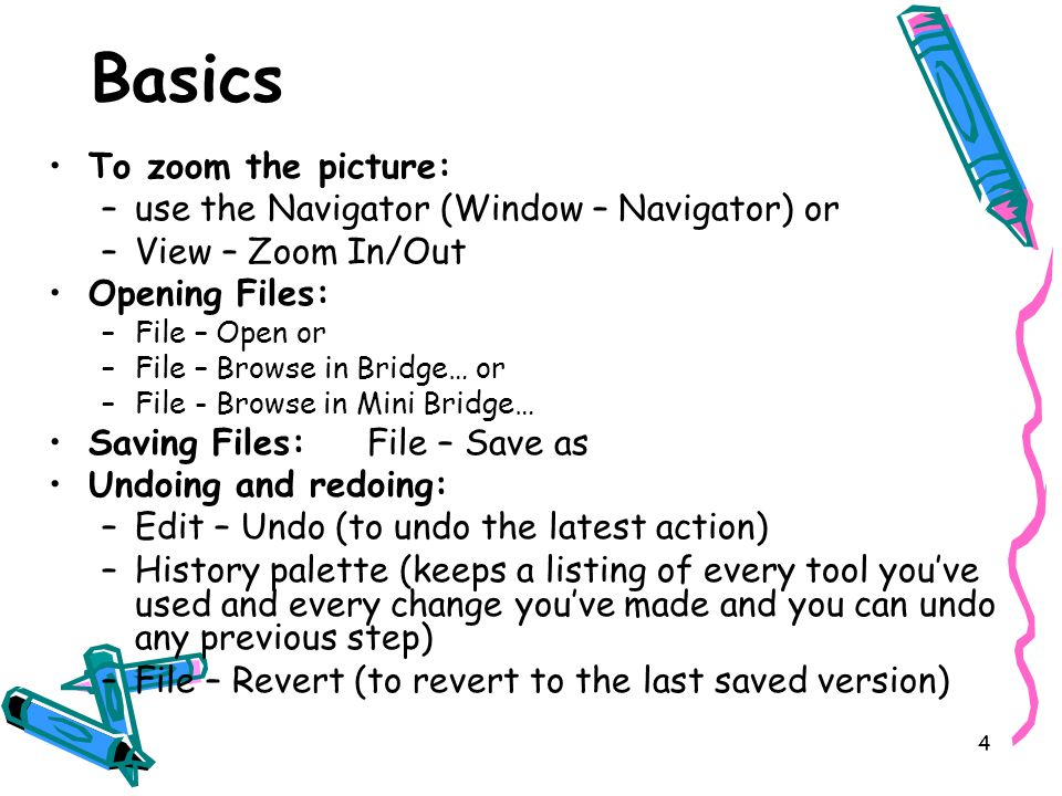 5 Reducing file size PhotoShop files can get very large and fill your hard drive.