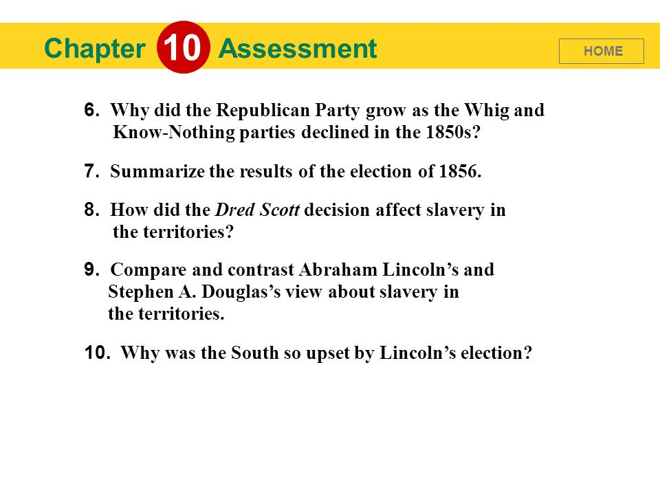 Chapter 10 Assessment 6. Why did the Republican Party grow as the Whig and Know-Nothing parties declined in the 1850s? 7. Summarize the results of the