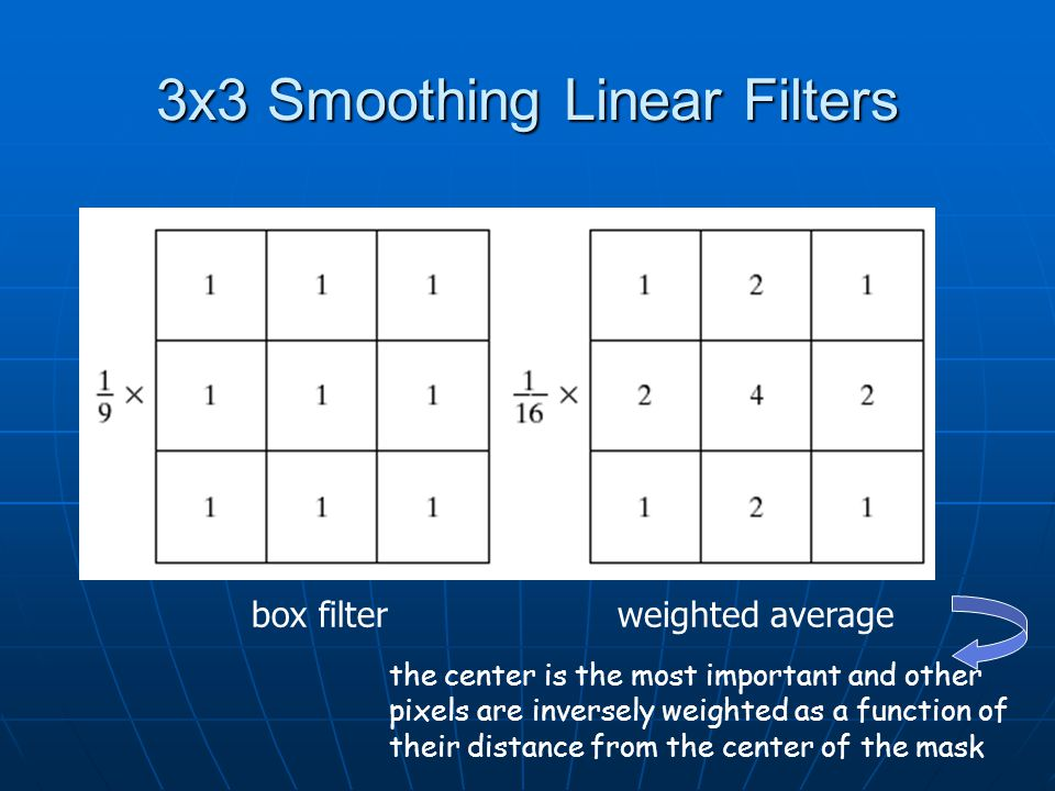 3x3 Smoothing Linear Filters box filterweighted average the center is the most important and other pixels are inversely weighted as a function of their distance from the center of the mask