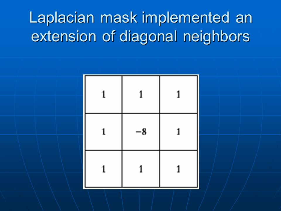 Laplacian mask implemented an extension of diagonal neighbors