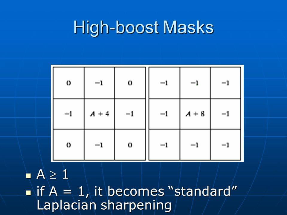 High-boost Masks A  1 A  1 if A = 1, it becomes standard Laplacian sharpening if A = 1, it becomes standard Laplacian sharpening