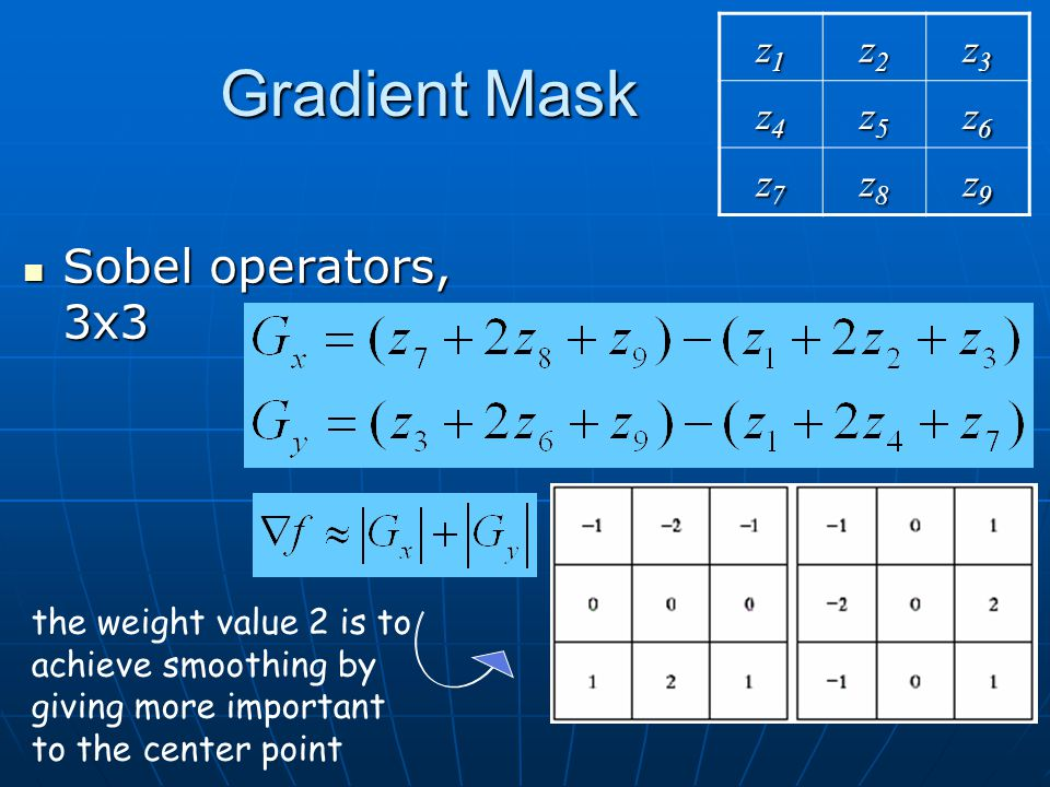 Gradient Mask Sobel operators, 3x3 Sobel operators, 3x3 z1z1z1z1 z2z2z2z2 z3z3z3z3 z4z4z4z4 z5z5z5z5 z6z6z6z6 z7z7z7z7 z8z8z8z8 z9z9z9z9 the weight value 2 is to achieve smoothing by giving more important to the center point
