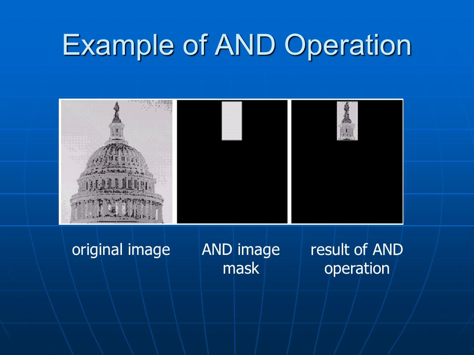 Example of AND Operation original imageAND image mask result of AND operation