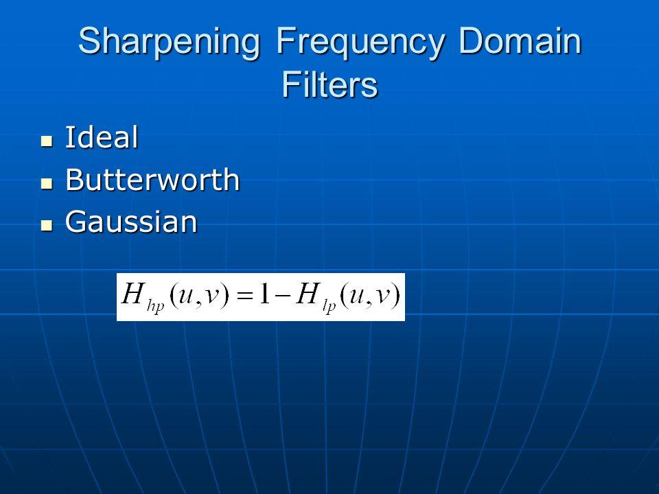 Sharpening Frequency Domain Filters Ideal Ideal Butterworth Butterworth Gaussian Gaussian