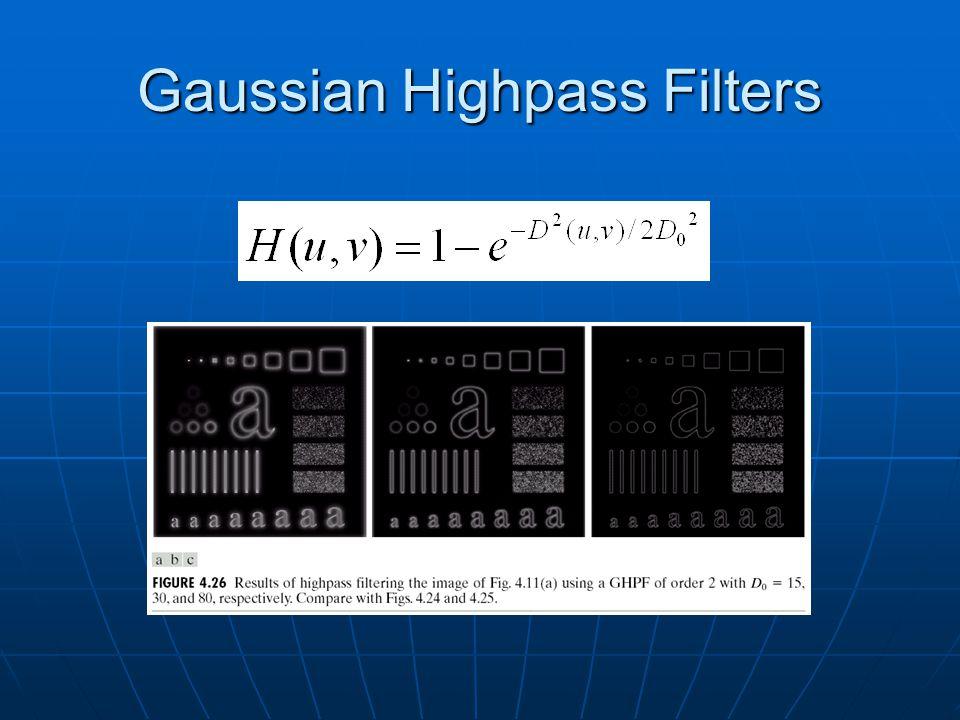 Gaussian Highpass Filters