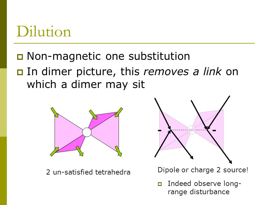 Dilution  Non-magnetic one substitution  In dimer picture, this removes a link on which a dimer may sit -- 2 un-satisfied tetrahedra Dipole or charge 2 source.