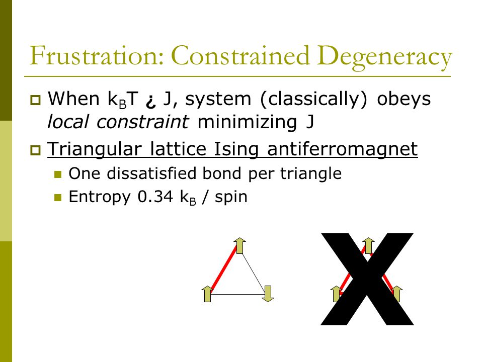 Frustration: Constrained Degeneracy  When k B T ¿ J, system (classically) obeys local constraint minimizing J  Triangular lattice Ising antiferromagnet One dissatisfied bond per triangle Entropy 0.34 k B / spin X