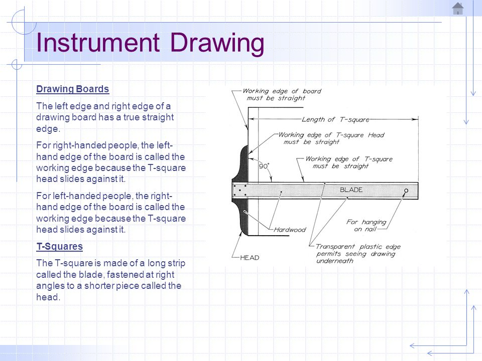 Instrument Drawing The drawing paper should be placed close to the working edge of the board to reduce any error resulting from the bending of the blade of the T-square.
