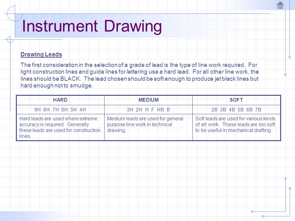 Instrument Drawing Drawing Lead Applications TASKLEAD GRADELINE WEIGHT CONSTRUCTION LINES3H, 4H, 6HTHIN, LIGHT VISIBLE OBJECT LINESH, F, HBTHICK, DARK HIDDEN LINES2H, HTHIN, DARK CENTER LINES2H, HTHIN, DARK DIMENSION LINES2H, HTHIN, DARK EXTENSION LINES2H, HTHIN, DARK LEADER LINES2H, HTHIN, DARK CUTTING PLANE LINESH, F, HBTHICK, DARK PHANTOM LINES2H, HTHIN, DARK LETTERINGH, F, HBTHIN, DARK