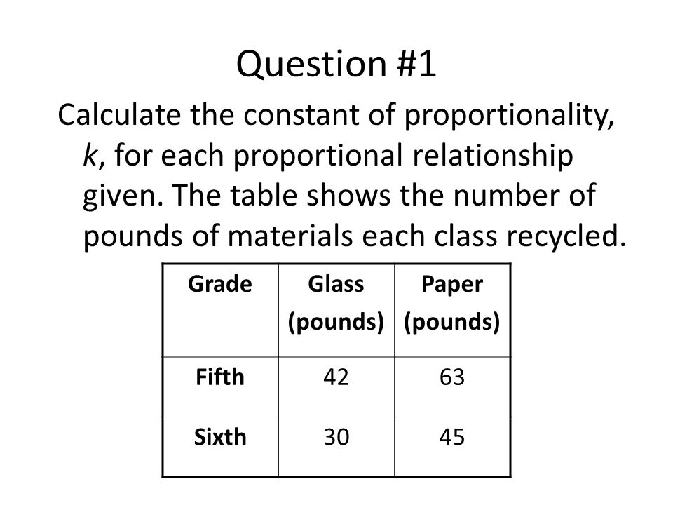 Question #1 Calculate the constant of proportionality, k, for each proportional relationship given. The table shows the number of pounds of materials