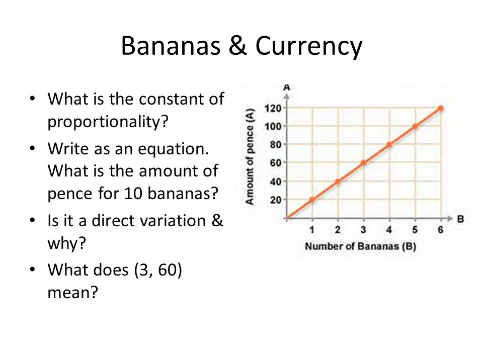 Bananas & Currency What is the constant of proportionality? Write as an equation. What is the amount of pence for 10 bananas? Is it a direct variation