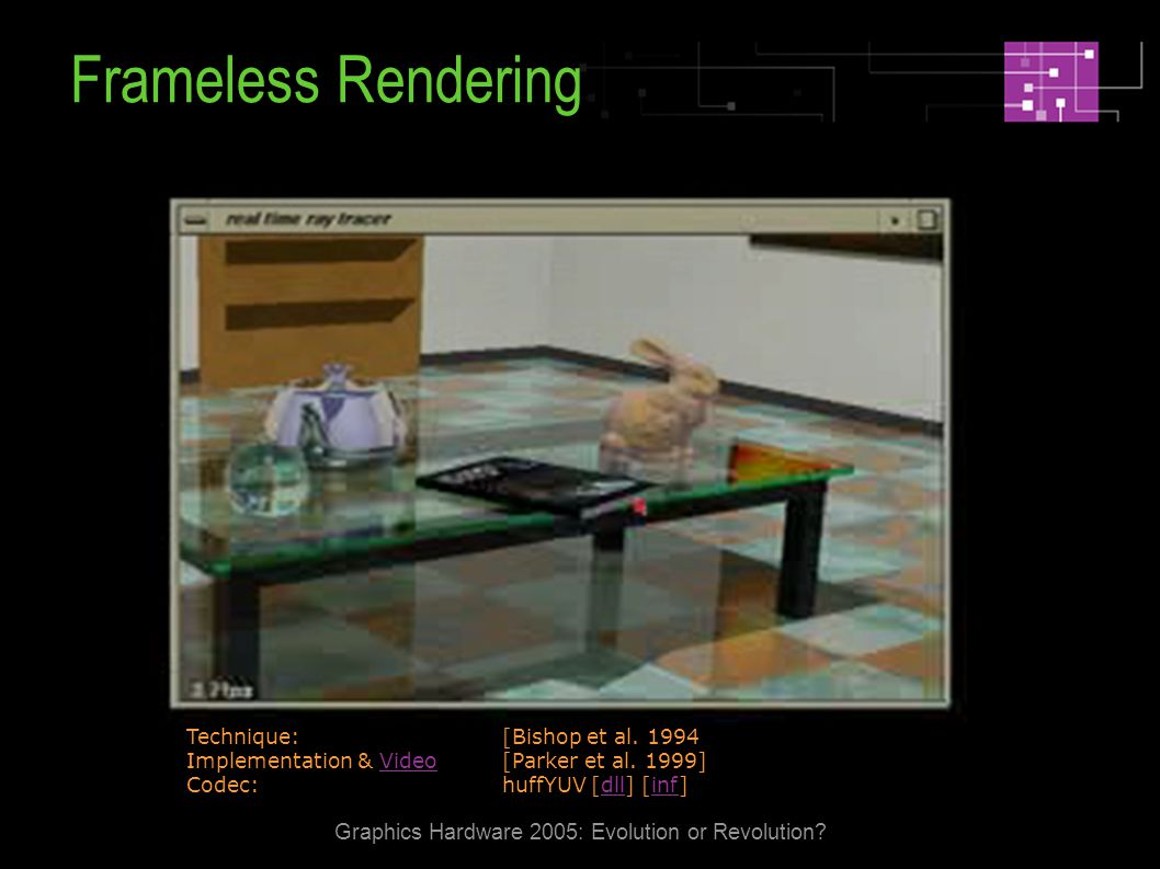 Graphics Hardware 2005: Evolution or Revolution. Frameless Rendering Technique: [Bishop et al.