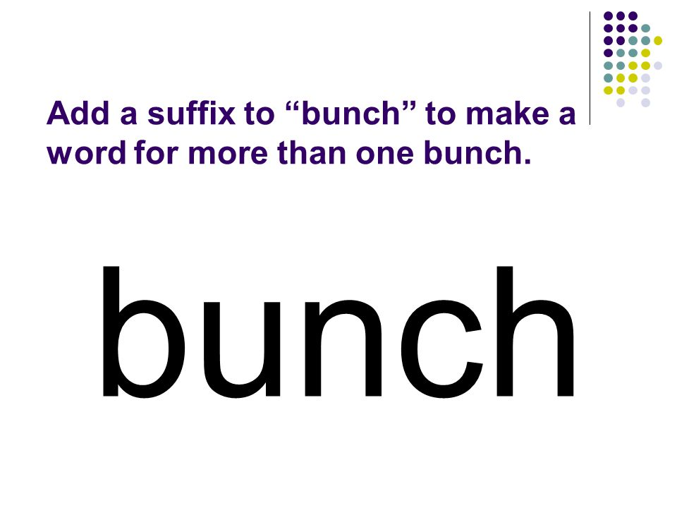 bunch Add a suffix to bunch to make a word for more than one bunch.
