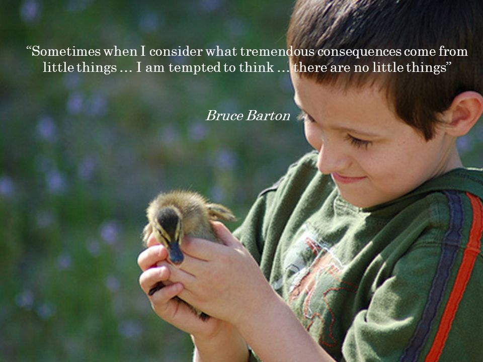 Sometimes when I consider what tremendous consequences come from little things … I am tempted to think … there are no little things Bruce Barton
