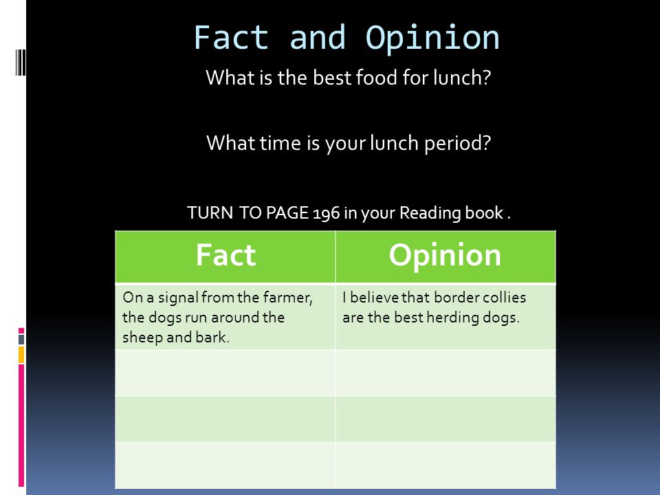 Fact and Opinion What is the best food for lunch. What time is your lunch period.