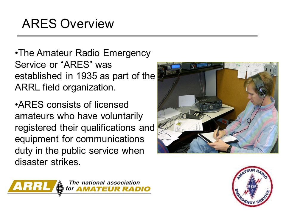 ARES Overview The Amateur Radio Emergency Service or ARES was established in 1935 as part of the ARRL field organization.