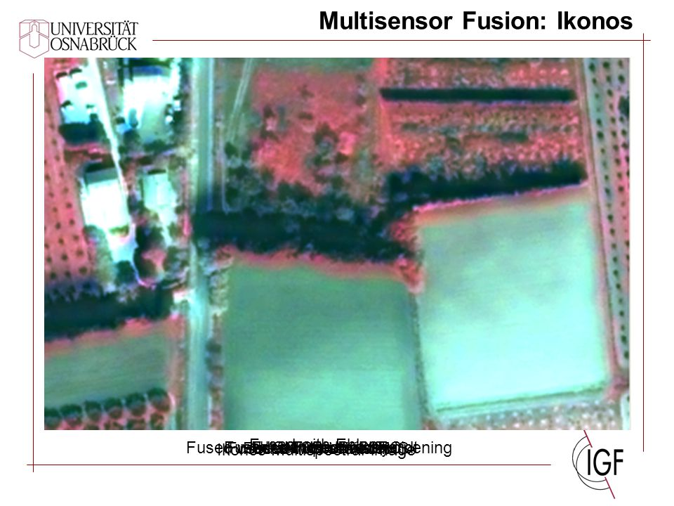 Multisensor Fusion: Ikonos Ikonos Multispectral image Fused with BroveyFused with CN Spectral Sharpening Fused with Ehlers Fused with modified IHS Fus