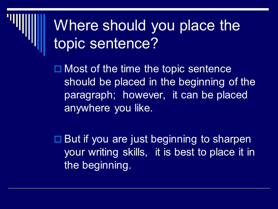 Where should you place the topic sentence.