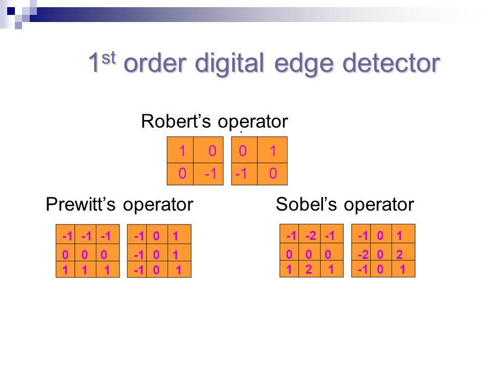 1 st order digital edge detector 1 st order digital edge detector Robert's operator Prewitt's operatorSobel's operator