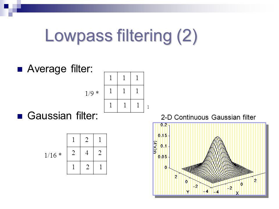 Lowpass filtering (2) Average filter: Gaussian filter: 1/9 * 111 111 1 1 1 1 1/16 * 121 242 1 2 1 2-D Continuous Gaussian filter