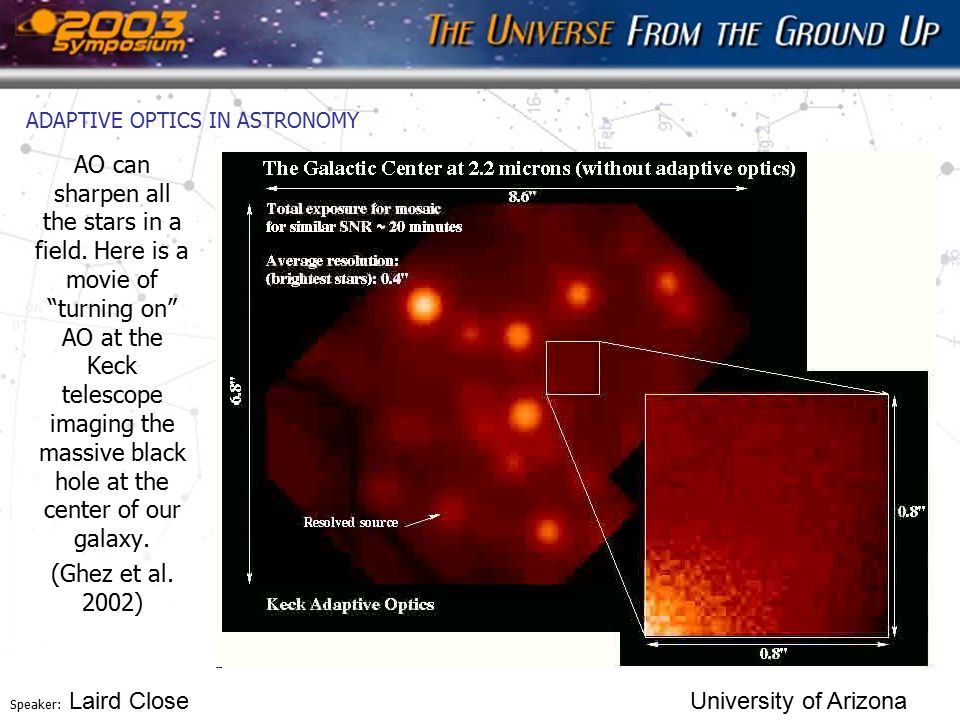 "Speaker: Laird Close University of Arizona ADAPTIVE OPTICS IN ASTRONOMY AO can sharpen all the stars in a field. Here is a movie of ""turning on"" AO at"