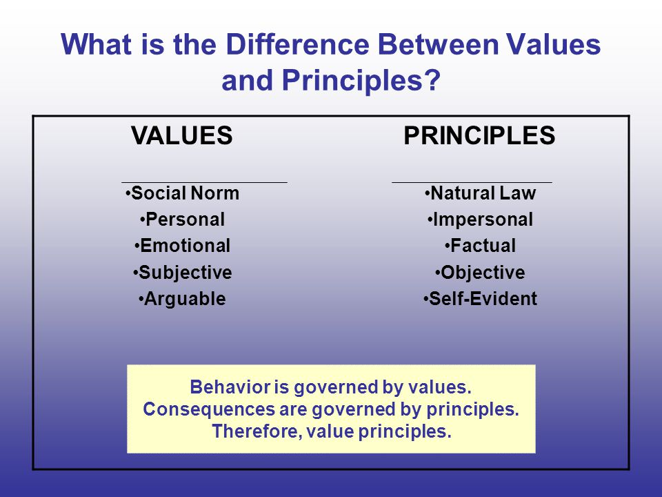 What is the Difference Between Values and Principles.