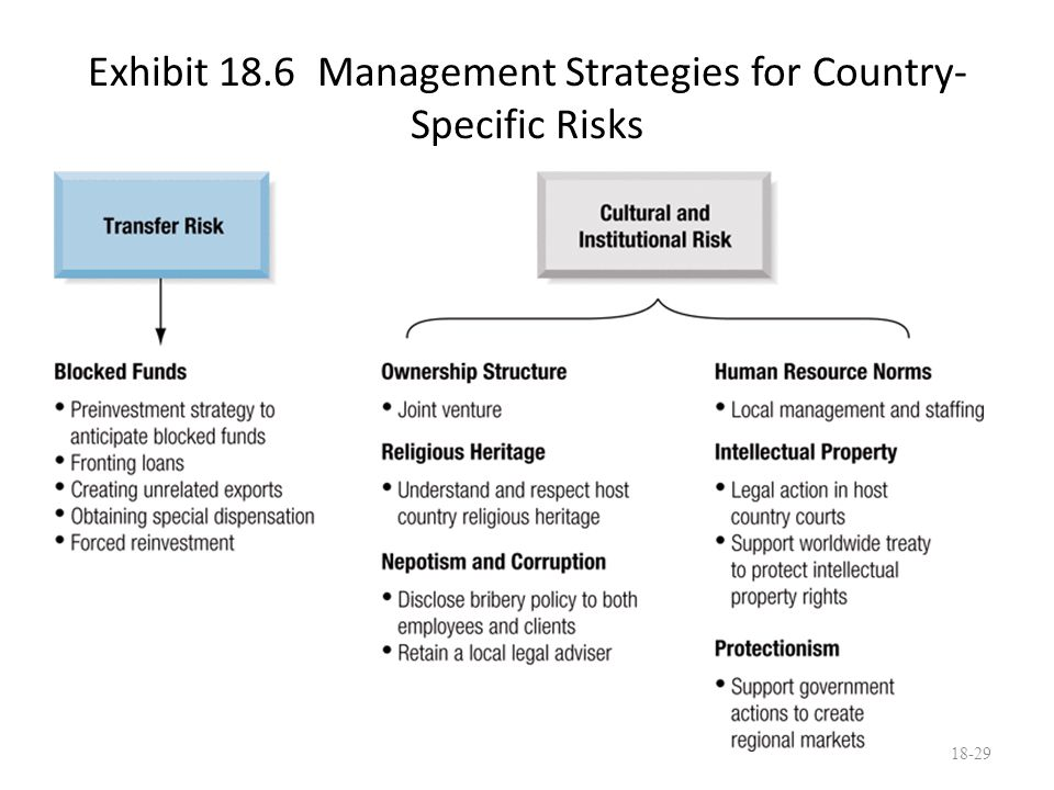 Exhibit 18.6 Management Strategies for Country- Specific Risks 18-29