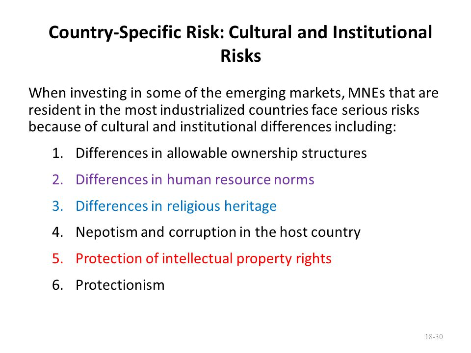 Country-Specific Risk: Cultural and Institutional Risks When investing in some of the emerging markets, MNEs that are resident in the most industriali
